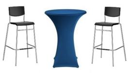 Statafel  Ø 85 cm. + blauwe rok