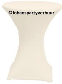 1 Statafel Ø 85 cm. +  Ecru witte rok + 2 Barkrukken