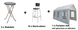 Pakket 2 -  Tent 4*8 | 10 barkrukken | 5 Statafels | zelf opbouwen