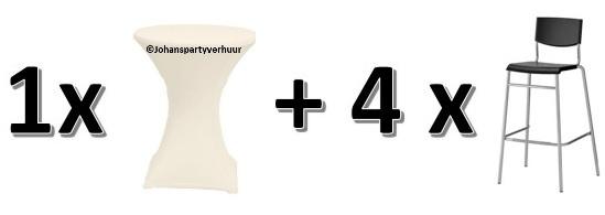 1 Statafel Ø 85 cm. +  Ecru witte rok + 4 Barkrukken