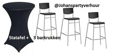1 Statafel Ø 85 cm. +  Zwarte rok + 3 Barkrukken