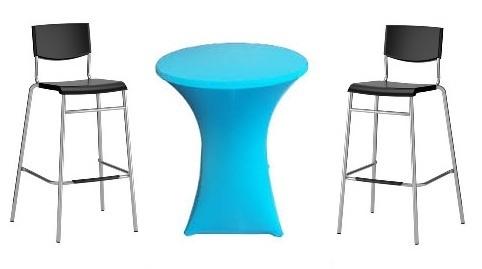 Statafel  Ø 85 cm. +  Hemel blauwe rok