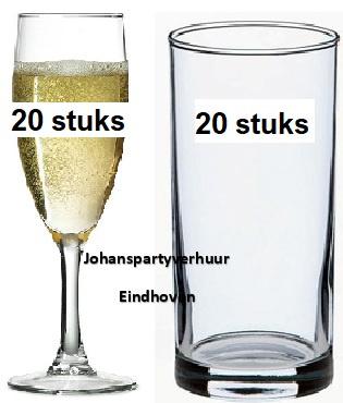 20 champagne glazen + 20 longdrinkglazen