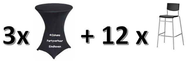 3  statafels + zwarte rok  + 12 Barkrukken