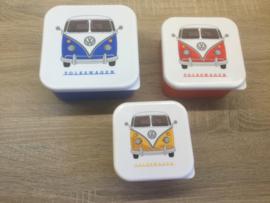 Set 3 Lunchtrommels - Volkswagen Kampeerbus