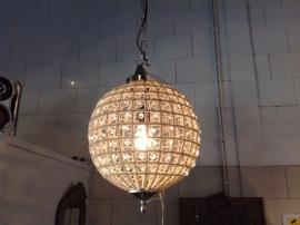 Hanglamp rond, glas en zilver S