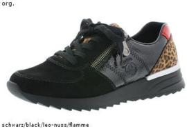 Rieker Dames Sneaker Zwart/Cognac N8024