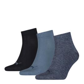 Puma Sneaker Sokken met boord Blauw-Combi 3-pack 271080.460