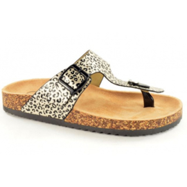 Bio Rock Teenslipper Tijgerprint Ecru T30700