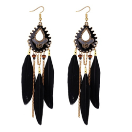 feathers gold black copper