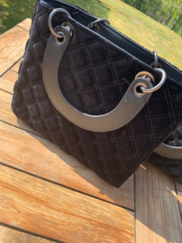 Handtas fluweel zwart klein