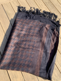 sjaal pied de poule zwart/donkerbruin