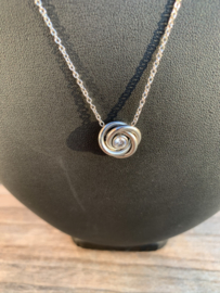 RVS ketting roosje zilver