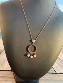 RVS ketting rosegold ring met steentjes