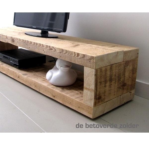 Blank Houten Tv Meubel.Tv Meubel Van Oude Balken Timber Tv Meubels De Betoverde Zolder