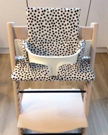 Kinderstoel kussenset 'Stippen zwart-wit'