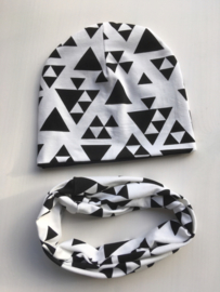 Set beanie en sjaal 'Black and white'