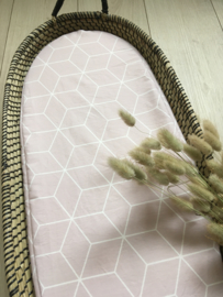 Hoeslaken verschoonmand 'Geometric oud roze'
