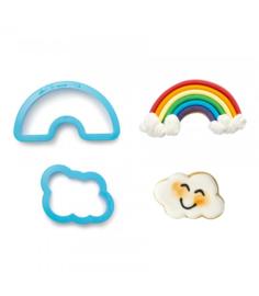 Regenboog en wolkje uitstekers set 2 st