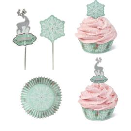 Xmas snowflake combo pack 24 baking cups + 24 pics