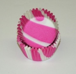 Cake cups  Zebra fushia-wit mini