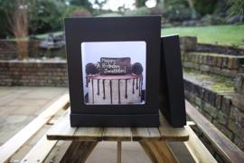 Extra Hoge taartdoos OLBAA met venster  30 x 30 x 35 (h) cm Black