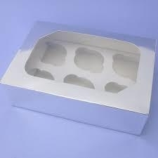 wit cupcake doosje met venster en insert vr 6 st
