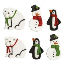 Sneeuwman, beer en pinguin suikerdecoratie - 6 st