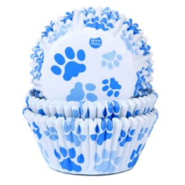 Baking Cups House of Marie Paw Blue 50 st
