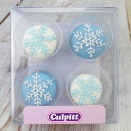 Sneeuwvlokken blauw suikerdecoratie - 12 st
