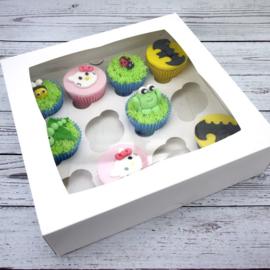 Cupcakedoos met insert voor 12 cupcakes per 5 st