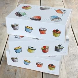Cupcake box voor 6 cupcakes (3 stuks)