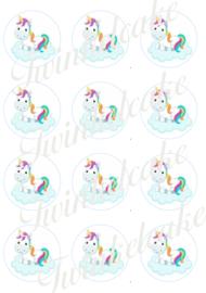 Eenhoorn eetbare print cupcake 4 rond A4