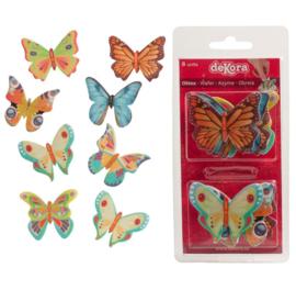 Vlinders hostiepapier  4 cm - 8 st