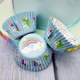 Eenhoorn/regenboog cupcakepapiertjes 24 st