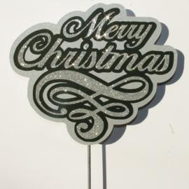 Glitter Zilver Merry Christmas