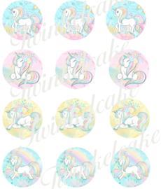 Eenhoorn eetbare print cupcake 3 rond A4