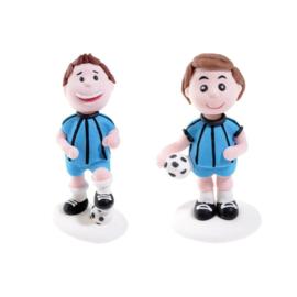 Voetballer suikerfiguurtje blauw