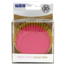 Pink with Gold Trim Baking Cups PME 30 st