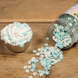 Glitter Schneeflocken Weiss/Blau - 150 gr