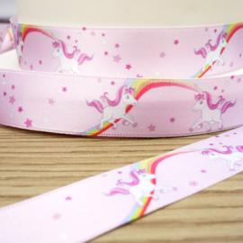 Satijn roze taartband eenhoorn - 1 M.