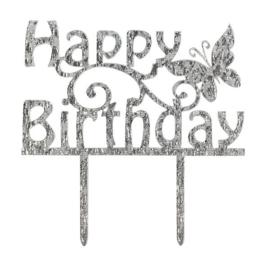Happy Birthday Cake Topper (Cake Star)-Zilver glitter