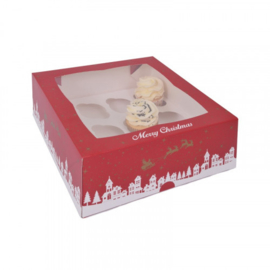 Cupcake doosje kerst voor 12 cupcakes (met venster en tray) - 2 st