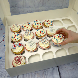 Cupcake box with insert for 24 cupcakes (per 5 pieces) - White