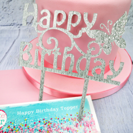 Happy Birthday Cake Topper (Cake Star)-Zilver glitter