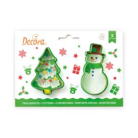 Kerstboom en sneeuwman set 2 cutters