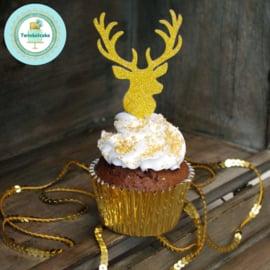 Rendierhoofd pic voor cupcakes 6 st