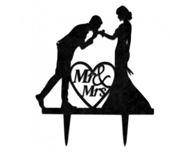 Cake Topper Acryl Mr & Mrs handkus