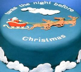 Patchwork Kerstman met slee en rendier