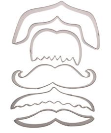 Moustache metalen uitsteker set 5 st